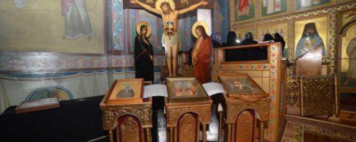Преосвященнейший епископ Николай совершил Литургию Преждеосвященных Даров в Свято-Троицком храме
